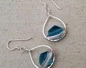 Silver Cosmic Swarvoski Teardrop Earrings - E376SS-Teal - handmade wire jewelry by cristys jewelry on etsy