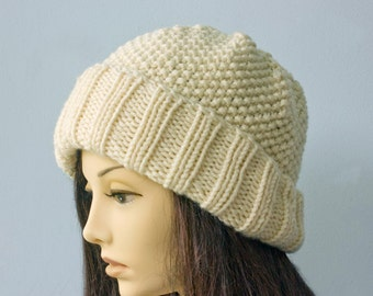 Off White  Knitted Hat,  Warm Winter Hat,  Brimmed Hat, Soft Knit Hat