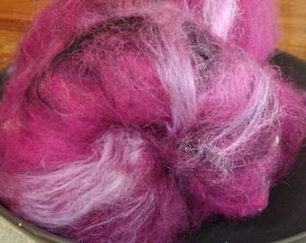 Plum Grove spinning batt with shetland, mohair, leister locks, llama, silk and sparkle, 2 oz