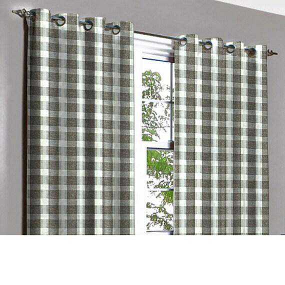 Vintage Linen Brown Plaid Grommet Blackout Lined Curtain