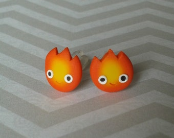 Howl's Moving Castle Calcifer Fire Post Earrings, anime jewelry