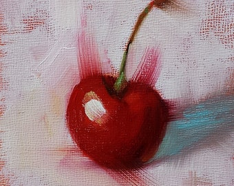 "Small Original Oil Painting, Red Cherry Still LIfe, 4 x 4 x 1.5"" Frame Not Needed, Wall Art, Kitchen Art"