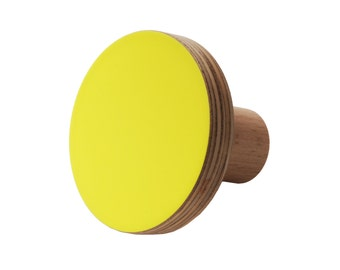 Wooden knob yellow fluro colour