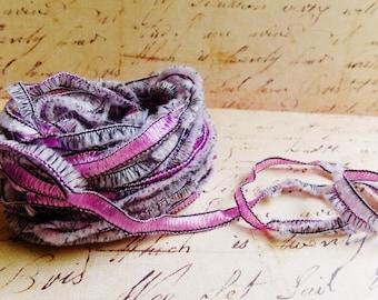 Lilac Purple Gemini Fringe Ribbon Garland ~Novelty trim Scrapbooking wedding favor craft supply, holiday gift wrap mixed fiber art