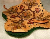 Antique Needle Holder hand painted leather covers, sewing basket collectible
