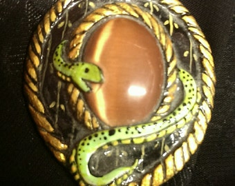 Serpent and Tiger Eye Pendant