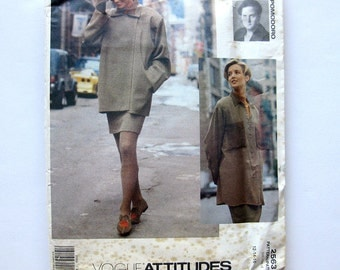 1990s Vintage Sewing Pattern Vogue Attitudes 2563 Carmelo Pomodoro Jacket Shirt Skirt Suit Size 12 14 16 / UNCUT FF
