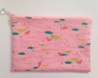 KINGYO pink goldfish pond crystal clutch zippered pouch
