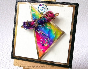 """Mixed Media Abstract Triangle Collage Original on 3"""" x 3"""" canvas,  with wooden easel for display"""