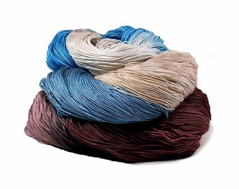 300 Yards Hand Dyed Cotton Crochet Thread Size 10 3 Ply Specialty Thread Blue Brown Ecru Beige Fine Cotton Yarn