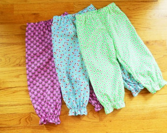 GIRLS Bloomer Pants Pantaloons for Baby or Toddler Girls in YOUR CHOICE of Designer fabrics - 6 months to size 8
