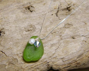 Green Sea Glass Necklace with Crystal and Pearl Accents