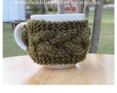 Cable knit mug cozy cup cozy in moss green