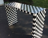 Whimsical painted console table // Black and White Checkered Table // Custom Painted table