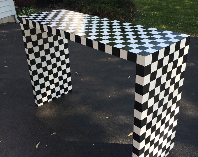 Whimsical Painted Furniture, Painted Sofa Table, Whimsical painted console table, Black and White Checkered Table
