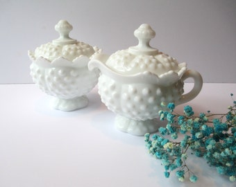 Vintage Fenton Milk Glass Hobnail Covered Cream and Sugar Set