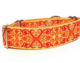 "1.5"" wide 17-24"" Martingale Dog Collar TANGERINE CAMELOT in orange"