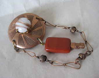Copper Rust Dangle Brooch Cab Vintage Pin