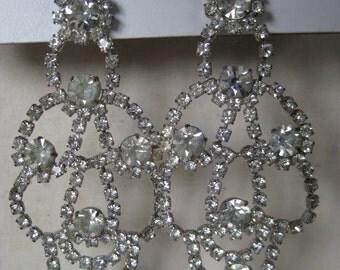 Chunky Clear Silver Rhinestone Earrings Pierced Post Vintage