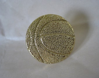 Basketball Brooch Gold Vintage Pin