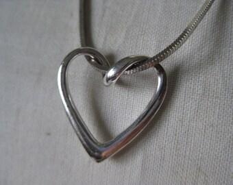 Heart Sterling Necklace Silver Vintage 925 Pendant SU