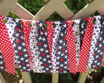 Red White Blue Vintage Americana  Rag Tie Banner Photo Prop Smash Cake Rag Tie Garland Patriotic July 4  Birthday Banner Baby Shower