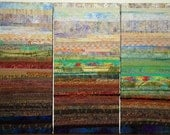 Abstract Landscape Quilted Wall Hanging Triptych Handmade One of a Kind