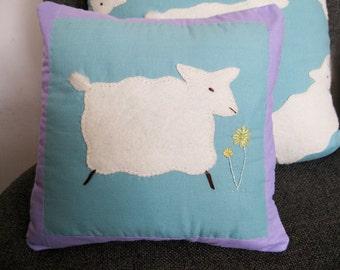 Baby Sheep Pillow, handmade applique, embroidered, cotton pillow