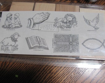 Wow...Lowered Price NIB Inspirational Images Stampin Up Rubber Stamp Set, Uncut, 8 stamps