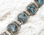 Vintage Glitter Lucite Bracelet Floral Metal Wide Book Chain Jewelry B6601