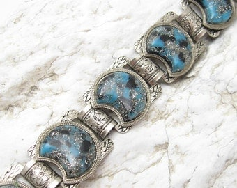 Vintage Glitter Lucite Bracelet Floral Wide Book Chain Jewelry B6601