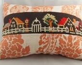 handmade Linen Pillow With Vintage Cross Stitch - house motif
