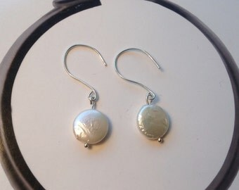 Coin freshwater pearl and sterling silver earrings