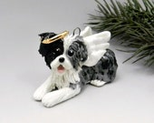 Australian Shepherd Angel Blue Merle Christmas Ornament Figurine Porcelain