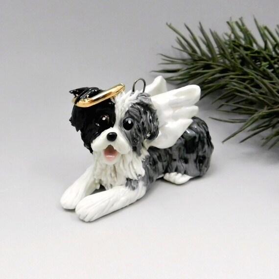 Shepherd Gold On Blue Silhouette Ornament: Australian Shepherd Angel Blue Merle Christmas Ornament