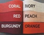 2 inch burlap ribbon - PEACH Orange CORAL Red BURGUNDY - 3 yards