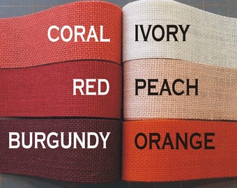 2 inch burlap ribbon - PEACH Orange CORAL Red BURGUNDY - 3 yards