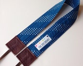 SLR Camera Strap - Cross body with blue Cotton + Steel fabric - Crossbody - Hipster Style