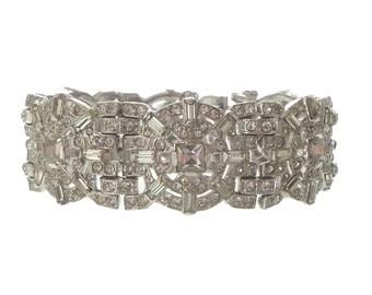 Vintage LEDO Bracelet, POLCINI Designer Statement Jewelry, 1940s Fine Vintage Cuff, Wedding Jewelry, Bridal Accessory