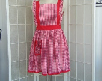 Vintage 1950's Style Checkered Bib Apron with Pocket