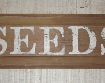 Newly Painted Shabby Sign on Antique Drawer Panel - Seeds