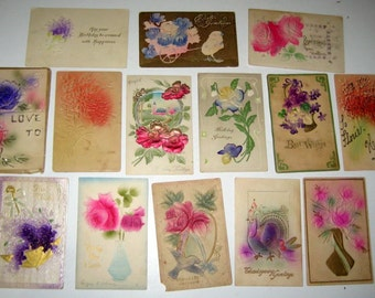 14 Antique Postcards - Highly Embossed Flowers- for Collecting, Altered Art, Scrapbooking, Crafts
