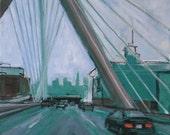 Boston oil painting, Zakim Bridge Boston, Urban landscape painting, Boston Skyline, Blue Green decor