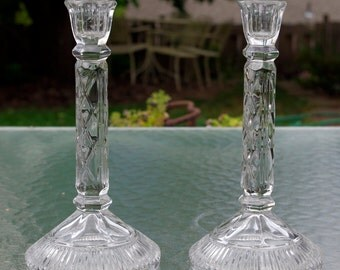 Vintage Crystal Candlestick Holders Pair