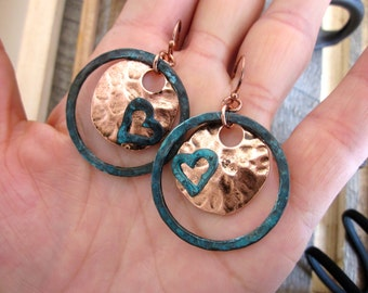 Copper Patina LOVE Earrings,  Tree Huggers, earth lovers, hippies, hearts, metal, brown, etched, Green, Ooak, Antiqued, Old world, FUN Hoops