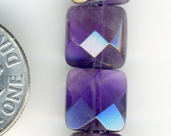 """AMETHYST A Grade Brazil 8mm Faceted Square beads 16"""" strand"""