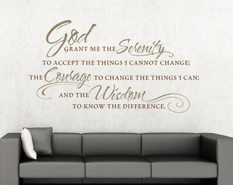 Vinyl Wall Decal The Serenity Prayer Inspirational Decal  Living Room Decoration Christian Vinyl Lettering Decal Wall Quote Sign Sticker