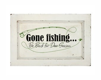 Rustic Wood Sign Decal Fishing Wall Decor Fathers Day Gift Wall Decal Gift for Men Gift for Him Fishing Gift Fishing Decor Gone Fishing Sign