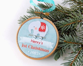 Personalized Baby's First Christmas Ornament 2015 Custom Holiday Ornament, Modern Elephant Pull Toy Design. baby boy, baby gift