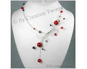 red necklace, gift for her,red  black necklace,bridesmaids gift,funky jewelry,statement necklace,illusion necklace, elegant jewelry,